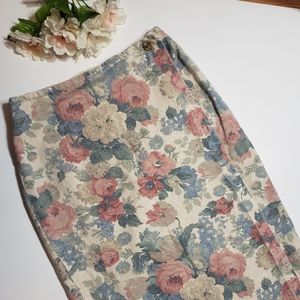 Vintage Floral Denim Wrap Skirt